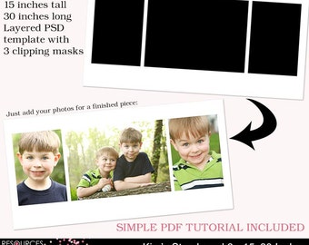 Storyboard Template 3 - 15x30 Inches, layered photoshop template for professional photographers, digital instant download, PSD file