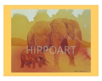 ELEPHANT AND CALF Greeting Card