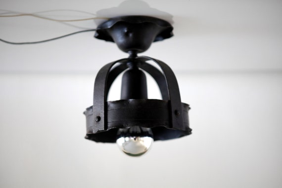 Black Wrought Iron Spanish Revival Flush Mount Light Fixture