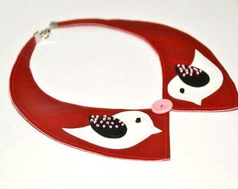 Peter pan collar  - detachable collar necklace - birds necklace