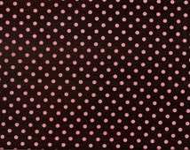 Michael Miller Dumb Dots, #CX2490-COCO-D.  100% cotton fabric, brown background with pink polka dots. ~35