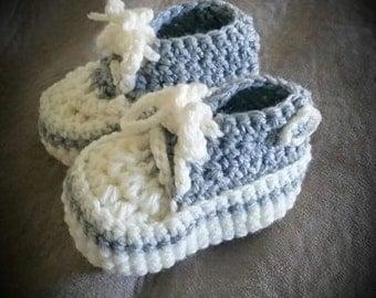 Handmade Crochet Grey and Cream High-top Baby Sneakers