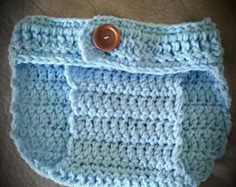 Handmade Crochet Baby Diaper Cover Blue