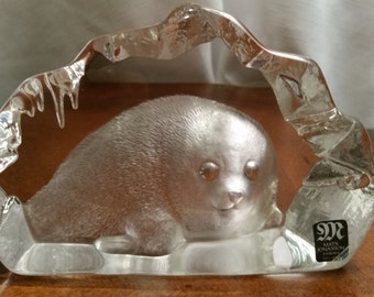 "Large Mats Jonasson ""Baby Seal"" Lead Crystal Glass Paperweight, Signed by the Artist"