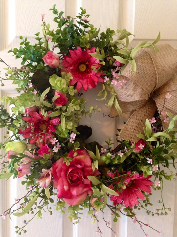 Spring Wreath French Country Wreath Cottage Chic Wreath