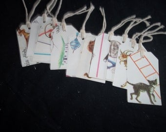 Tags Repurposed from Picture Book, set of 10