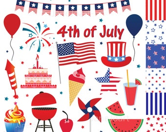 4th of July clipart , Fourth of July clip art , Independence Day + FREE 6 Digital Papers fireworks,USA Flag, blue white red Instant download