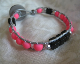 Loom Beaded Bracelet - Leather and Hot Pink