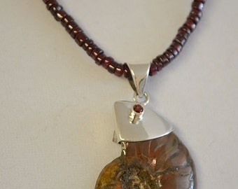 Garnet Necklace with Fossil Pendant