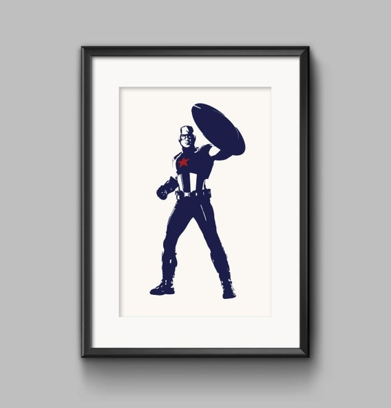 Captain America Wall Art Decor Marvel Superhero By Tesellate