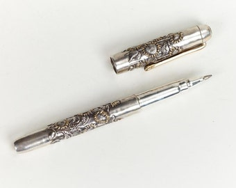 Handmade Silver Pen with Sunflowers