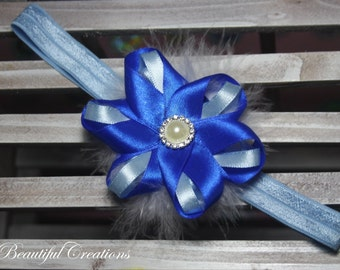 baby blue head band, feather head band, ribbon headband, toddler headband, baby headband, hair accesories, picture prop headband