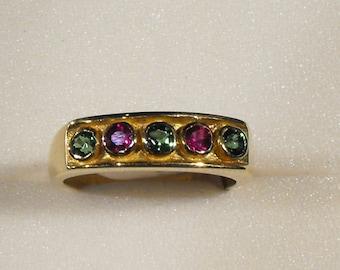 Tsavorite Garnet 2.5mm and Ruby Ring in 18 Ct Yellow Gold