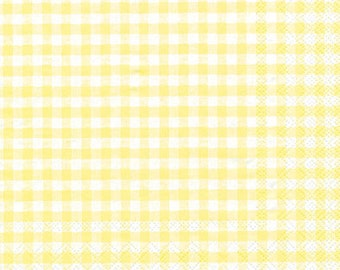 Yellow Gingham Paper Napkins - Individual Packages or Case Discount for Decoupage or Parties - Lunch Beverage Vichy Light Yellow
