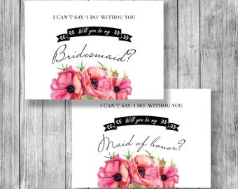 Will You Be My Bridesmaid, Will you be my maid of honor, Asking bridesmaid, Instant Download - C049