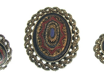 Vintage Sarah Coventry Jewelry Set - Necklace, Pendant, Ring, Brooch Antique Gold Tone