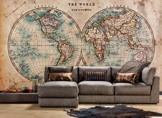 70 hemispheres home decor two hemispheres map style wall art oil the world in hemispheres vintage map wall mural gumiabroncs Choice Image