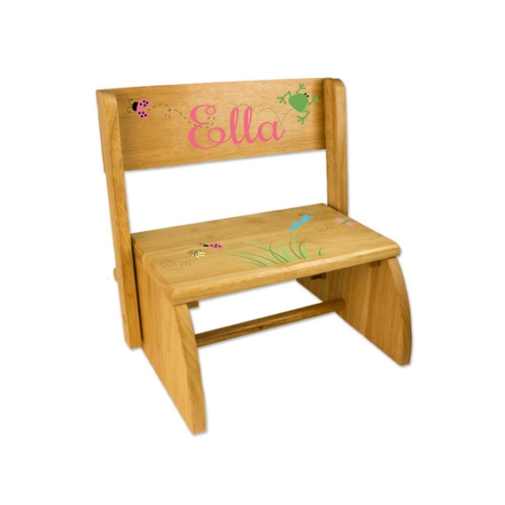 Personalized Kids Step Stool Natural Wooden By Wizkickgifts