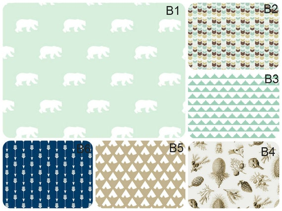 Baby bedding boy nursery custom crib bedding mint navy blue tan bears