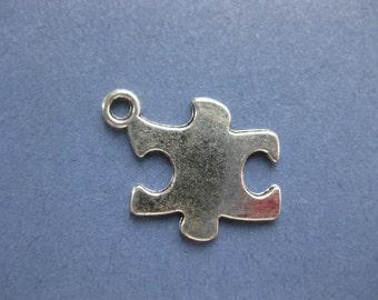 10 Puzzle Piece Charms - Puzzle Piece Pendants - Autism Awareness Charm - Antique Silver - 20mm x 14mm -- (No.75-10990)