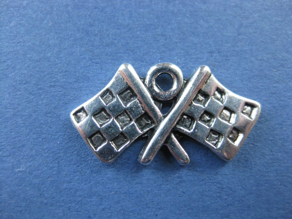 10 Checkered Flag Charms Checkered Flag Pendant