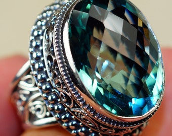 Swiss Blue Topaz 925 Sterling Silver Ring Size: 9