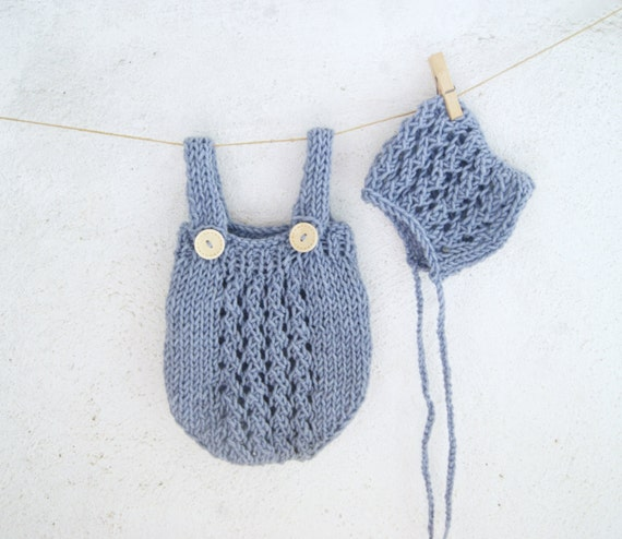Blue Hand Knit Baby Romper and Bonnet Set / Knitted Baby