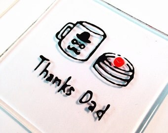 Thanks Dad fused glass magnet, wedding gift, thank you gift, fathers day gift
