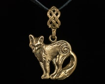 Celtic Fox Pendant, brass, handmade ..... Norse Pendant, Viking Jewelry