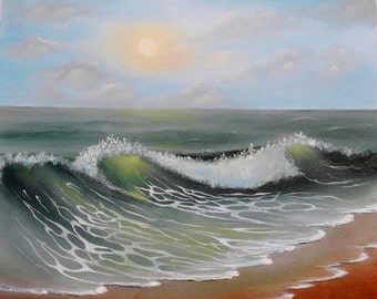 "Oil painting, ""The sea of wish fulfillment"", Oil, Canvas, Dzen painting, Sea, seascape"