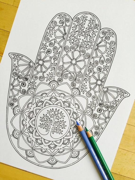 Hamsa Tree Of Life Hand Drawn Adult Coloring Page Print