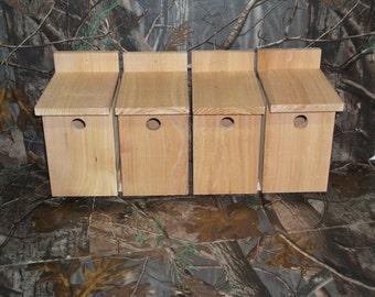 Four - Cedar Wren Birdhouse Nesting Box Handmade Chickadee, Nuthatch, Warbler, Deer Mouse, Flying Squirrel - Rustic Birdhouse