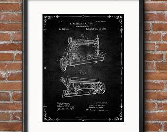 Sewing Machine Poster, Sewing Machine Patent, Sewing Machine Print, Sewing Machine Art, Sewing Machine Decor, Blueprint - 0450