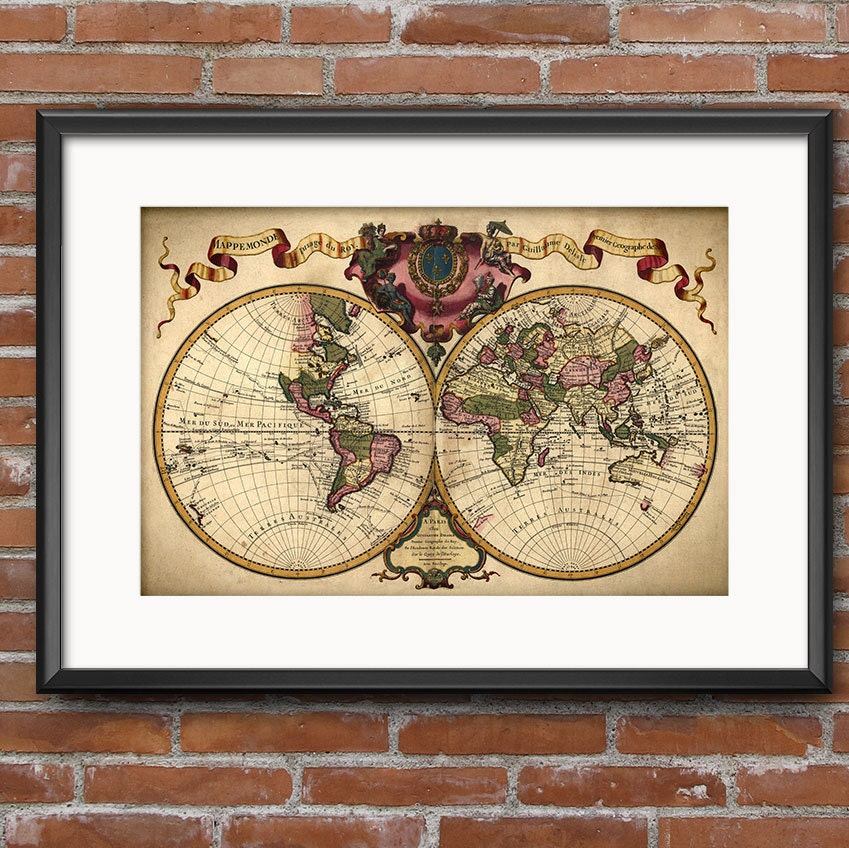Vintage World Map Wall Art Poster Travel Decor Vintage Map