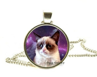 Grumpy Cat Pendant Grumpy Cat Necklace Grumpy Cat Jewelry