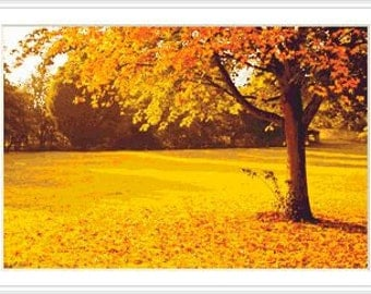 Yellow Autumn landscape cross stitch pattern. Seasons. Landscape. Trees. Woods. Fall.