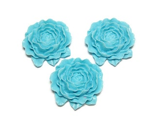 Resin Flowers Large Turquoise Flower Open Bloom 50mm DIY Craft Supplies