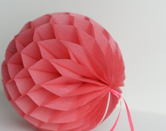 Island pink Tissue paper honeycombs -  hanging wedding party decorations