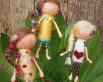 Doll brooch, pink, yellow and white with red heartne, felt jewerly