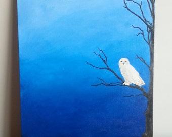 Original Acrylic Painting - Midnight Snow Owl
