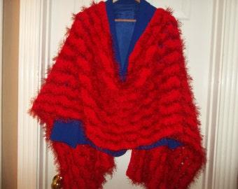 Crochet Shawl: Red Fun Fur Crochet Shawl