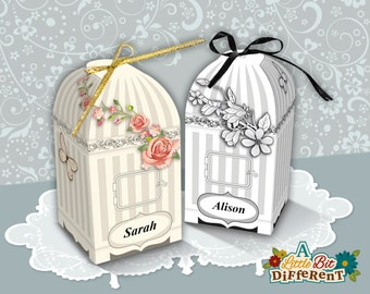 Bird cage candy gift box - personalize, personalise paper bird cage favour box, paper box, wedding favor, printable PDF - INSTANT DOWNLOAD