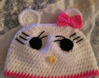 handmade to order crochet hello kitty hat