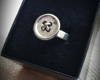 Sterling and Fine Silver Button Ring