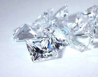 6mm,7mm, 8mm Square Shape Princess Cut Cubic Zirconia, AAAAA Loose Stone, Diamond Clear, small lot size available. 6x6, 7x7, 8x8