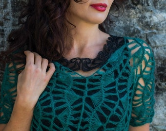emerald knitted sweater - Lace sweater - sweater Handmade - mohair emerald sweater - Аzure sweater - Translucent - air sweater