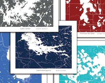 Lake Cabin Gift, Custom Lake map, Cabin Decor