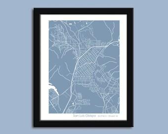 San Luis Obispo map, San Luis Obispo city map art, San Luis Obispo wall art poster, San Luis Obispo decorative map