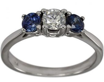 3 Stone Ring Sapphire Diamond Engagement Ring In 14K White Gold
