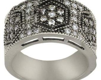 Diamond Wedding Band Wide Art Deco Ring Vintage Diamond Band 14K White Gold